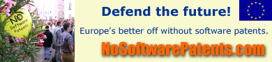 Defend the future! Europe's better off without software patents. NoSoftwarePatents.com